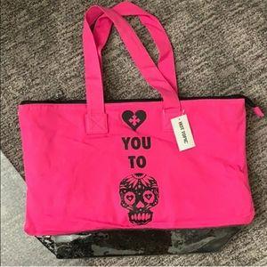 Hot Topic Black Heart Skull Tote Bag NWT